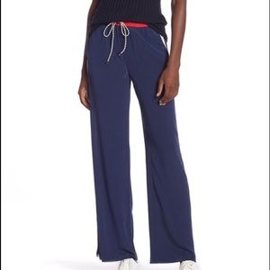 JOIE PERLYN SILK TRACK PANTS NAVY/WHITE LARGE NWOT